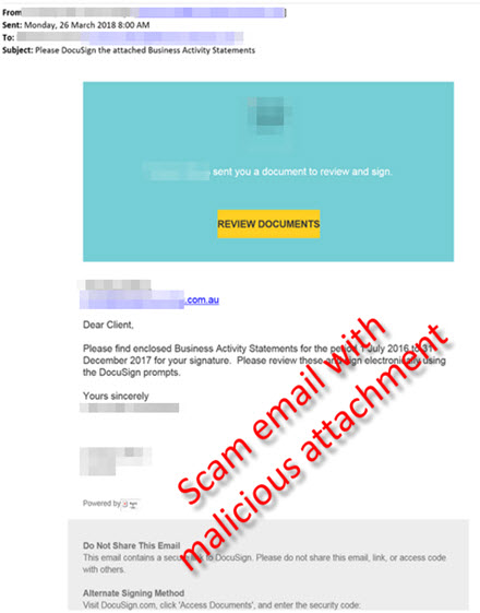 Fake Activity Statement malware scam example