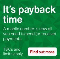 It's payback time. A mobile number is now all you need to send (or receive) payments. T&Cs and limits apply.
