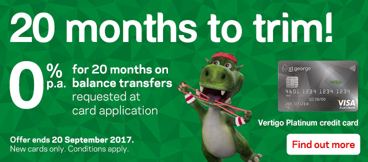 0% for 20 months on balance transfers requested at card application. Terms and conditions apply.