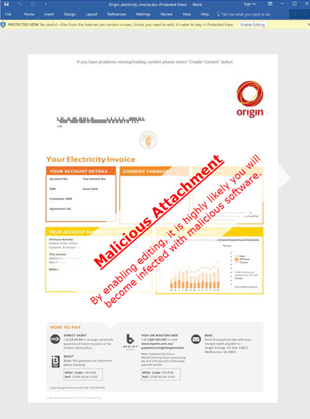Scam Origin Energy bill with malicious software