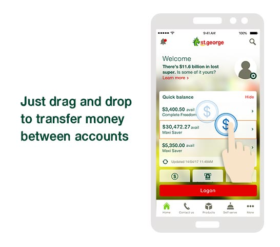 Just drag and drop to transfer money between your accounts